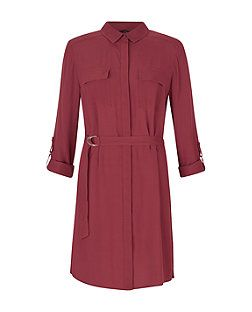 Burgundy D-Ring Waist Shirt Dress  | New Look