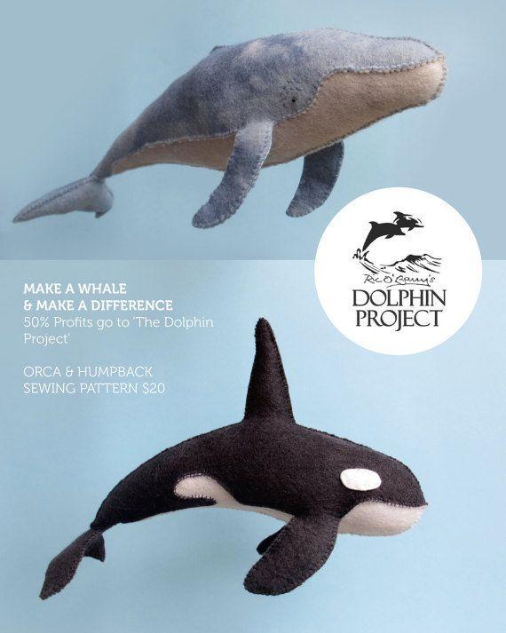 970dafcfd Felt Humpback and Orca Whale Sewing Patterns di LoriDesignsOnline ...