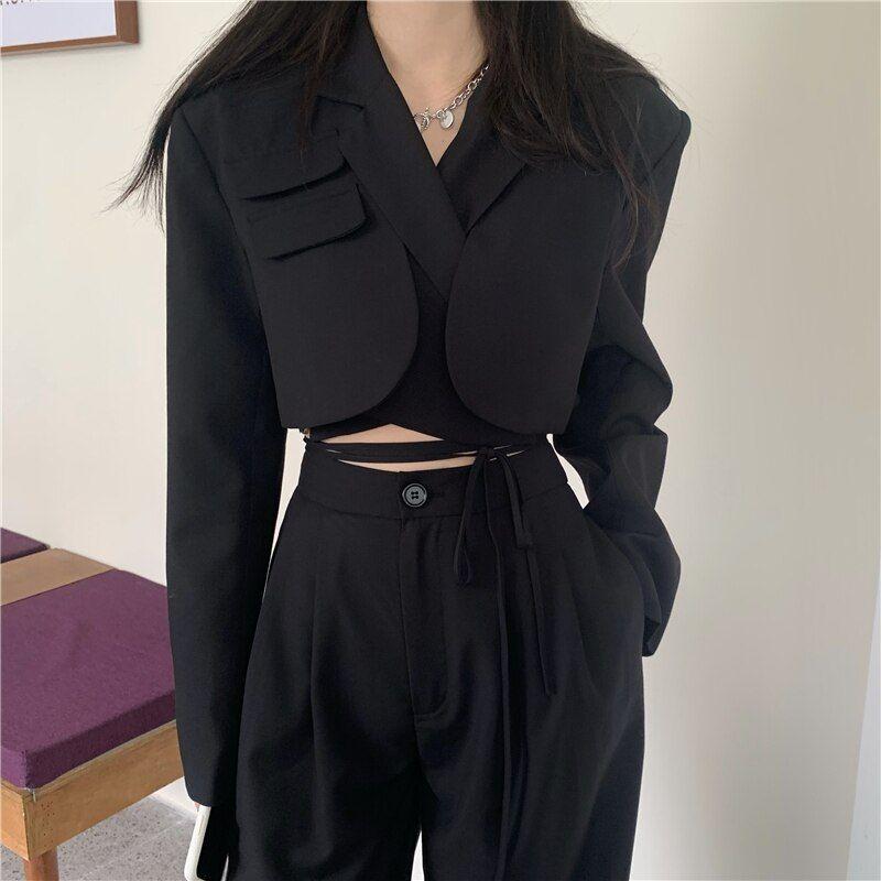 Photo of 28.79US $ 28% OFF|Koreanische sommer Zwei Stück Set Frauen Crop Top Sexy Spitze up Blazer Mantel + Hohe Taille Hosen Anzug Sets streetwear 2 Stück Sets Frauen|Pant Suits|   – AliExpress