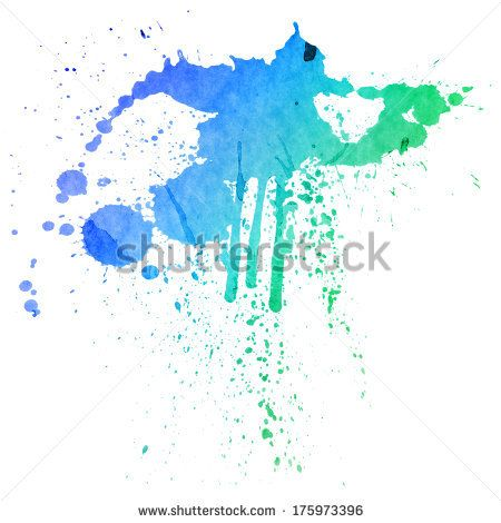 Blue Green Watercolor Splashes