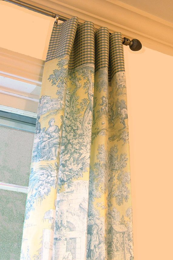 Window Panels Drapery Curtain Toile Yellow And By