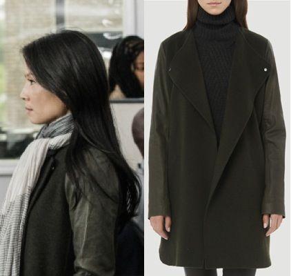 Elementary season 2, episode 10: Joan Watson's (Lucy Liu) Vince Leather Sleeve Double Face Wool Coat in green #getthelook #joanwatson #elementary #vince
