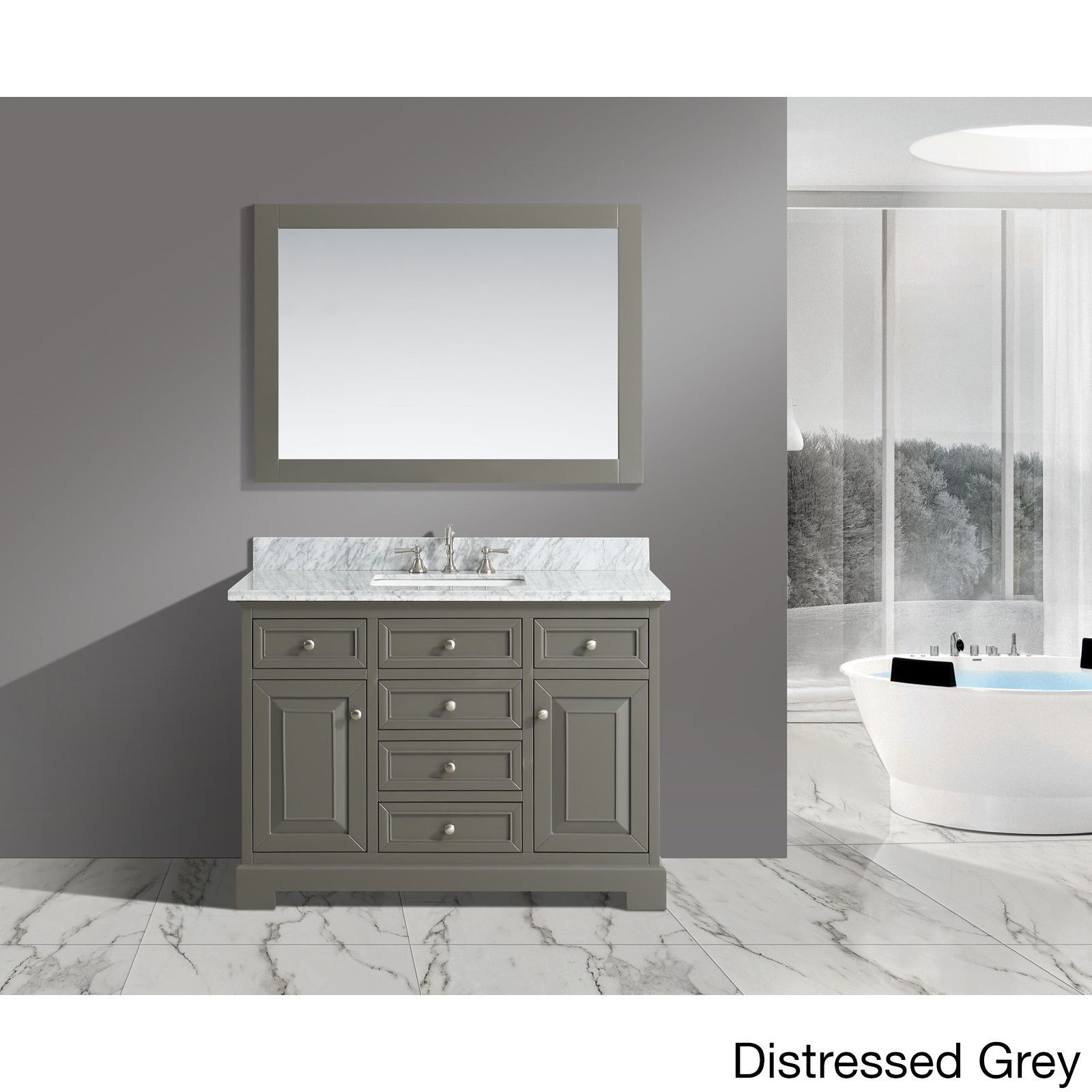 Rochelle White/ Grey Marble/ Wood 48 Inch Bathroom Sink Vanity Set (White),  Size Single Vanities