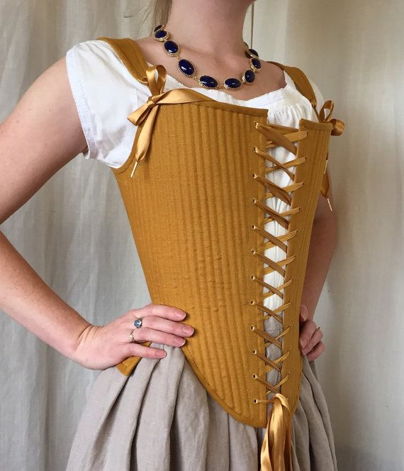 Elizabethan effigy corset stays size xs in mustard linen reed boned historical corset 1600 - Ropa interior medieval ...