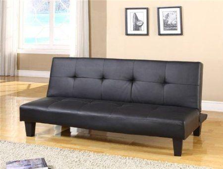 Las Vegas Futon Sofa Bed In Black Pu Leather Amazon Co Uk