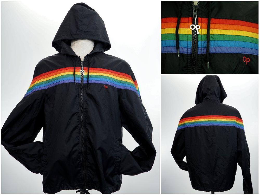 Vintage Ocean Pacific Op Black Rainbow Stripe Hoodie Light Jacket Men S Med Vtg Op Striped Hoodie Mens Light Jacket Retro Outfits