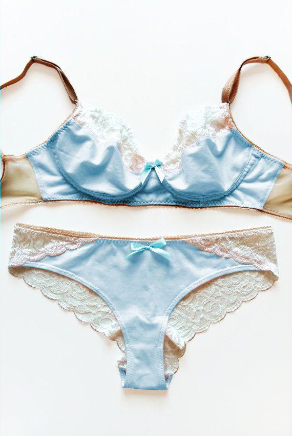 ef07b5240d28 Something Blue Bridal Lingerie Set: Baby Blue Cotton and Lace Bra ...