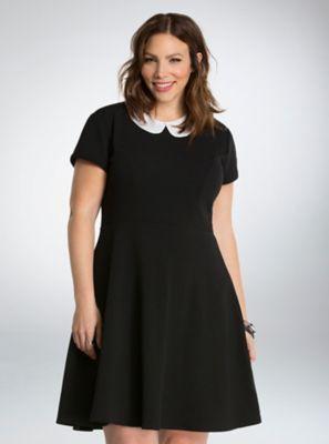 1305eeeca3 Plus Size Retro Dresses Textured Skater Dress in Black  58.90 AT  vintagedancer.com