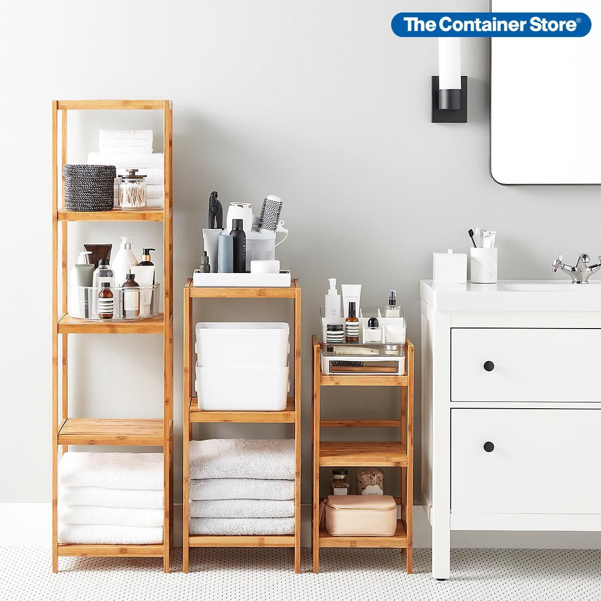 Shop Shelving Solutions That Are Suitable For Spaces Both Big And Small Pictured 5 Tier Bamboo Tower 3 Tier Bamboo To In 2020 Bamboo Shelf Bathroom Storage Shelves