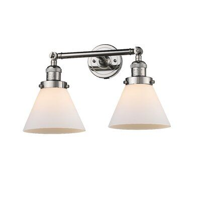"""Photo of Omorphita 2-Light Dimmable Armed Sconce Finish: Polished Nickel, Shade Color: Matte White Cased, Size: 10 """"H x 16"""" W"""