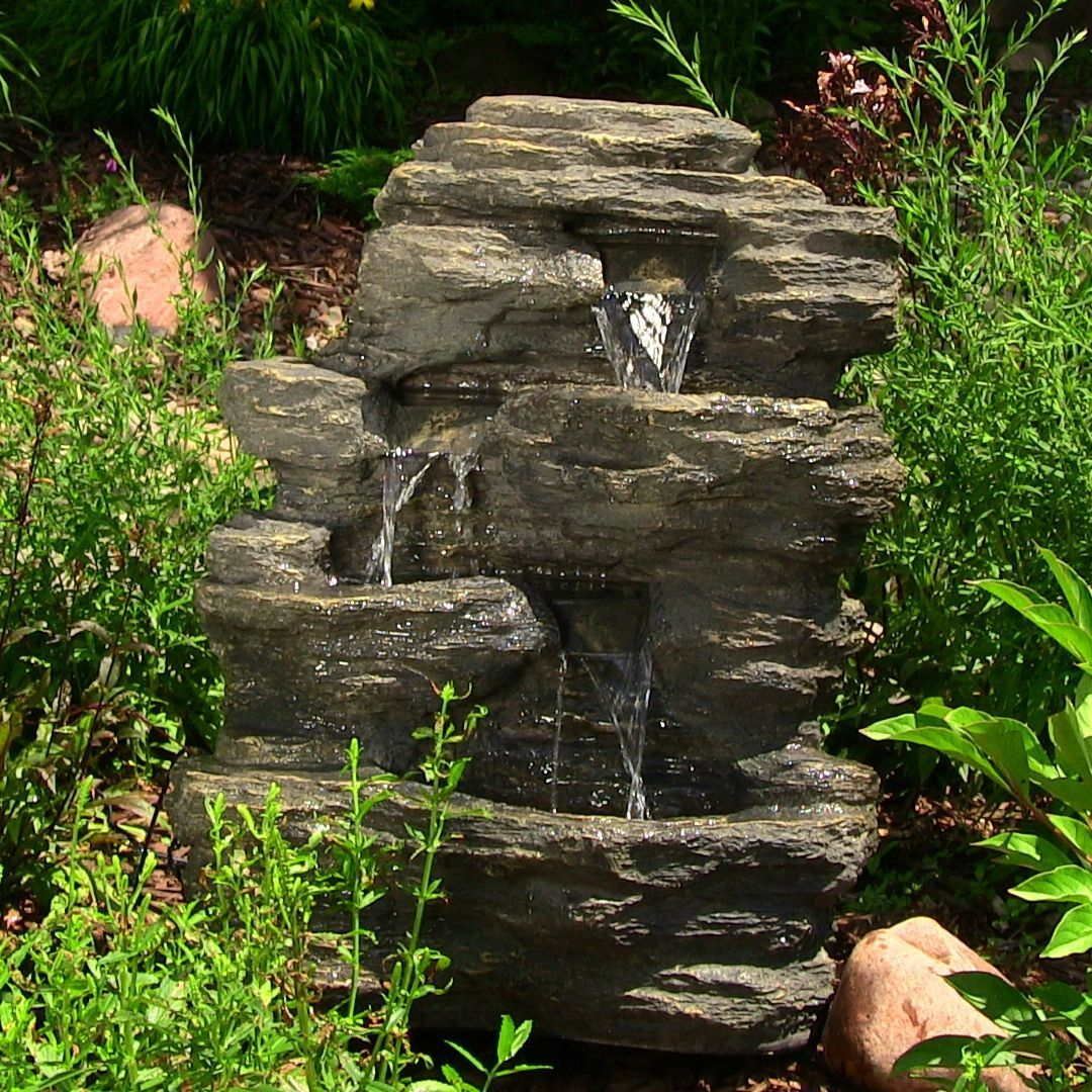 Outdoor Classics 24 Inch Rock Falls Fountain With LED Lights Gray Polystone