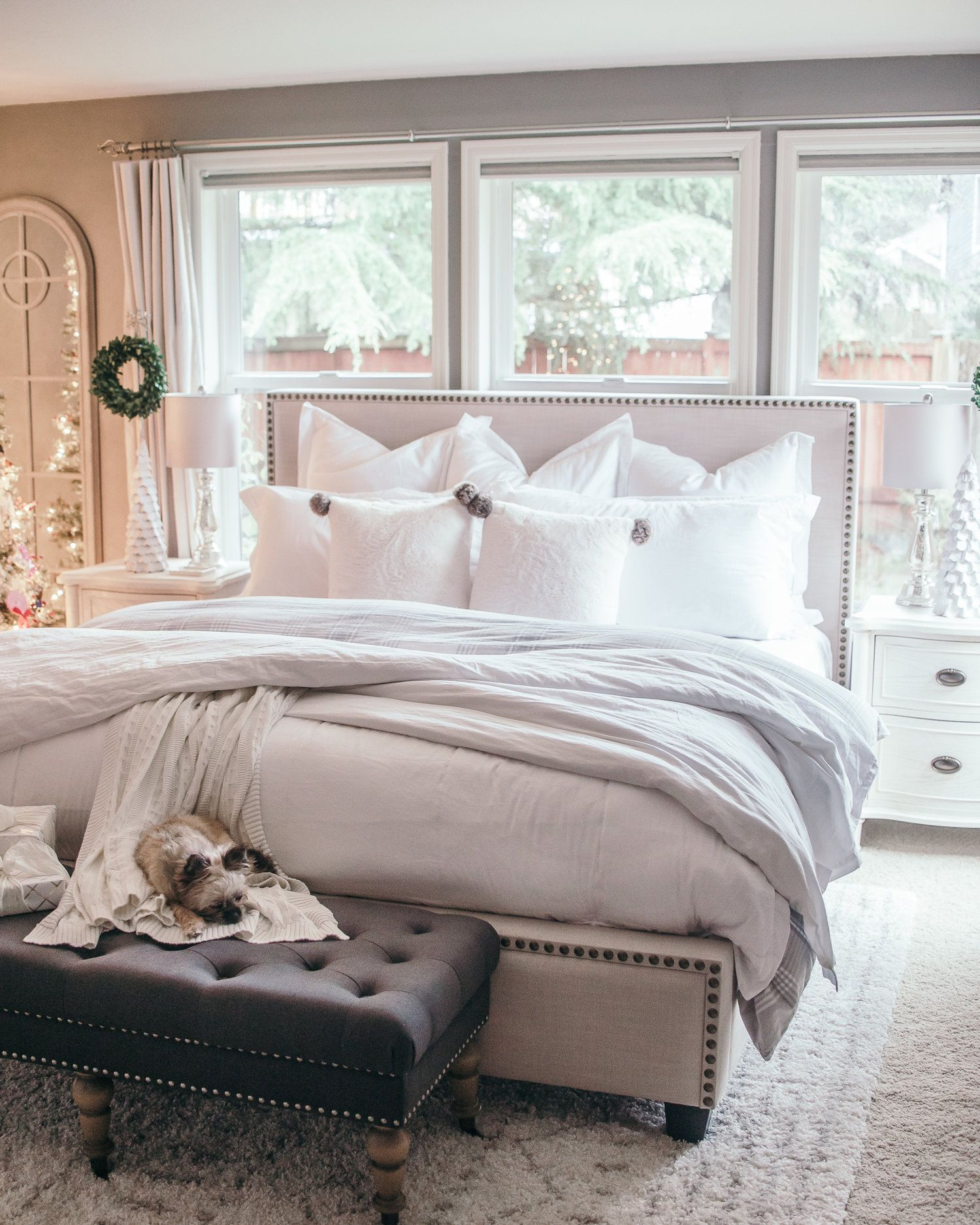 Window behind bed ideas  holiday home tour christmas decor ideas  master bedroom bedrooms