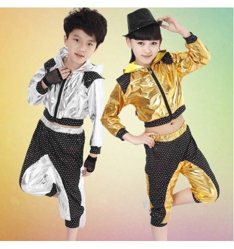 aea8ac902 Silver gold long sleeves patchwork boys girls kids child baby modern dance  jazz dance hip hop dance costumes outfits set