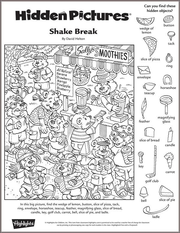 Highlights In The Classroom Coloring Hidden Picture Puzzles