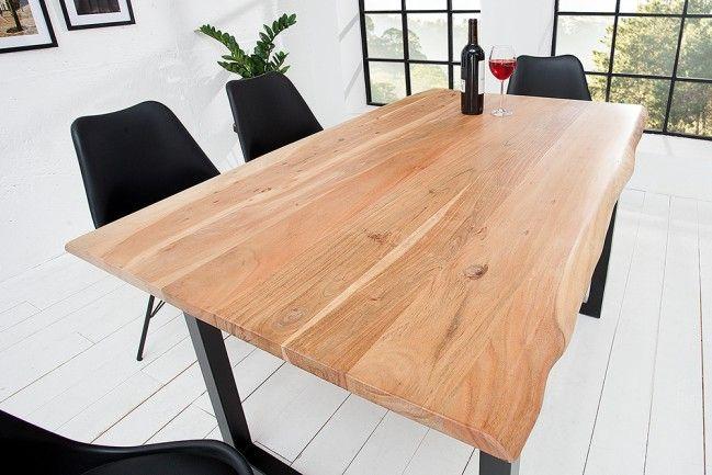 Massiver Baumstamm Tisch Mammut 140cm Massivholz Akazie Schwarzes