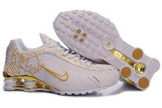 2014 Nike Shox R4 Shoes Womens White Gold 480712   Shoes