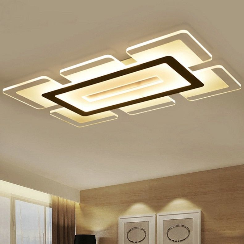 Modern Led Ceiling Light Rectangular And Square Living Room Light Acrylic Creative Bedroom Ceiling Lamp Ac85 265v Modern Led Ceiling Lights Bedroom Ceiling Lamp Pop Ceiling Design Modern Led Ceiling Lights Ceiling Lamps