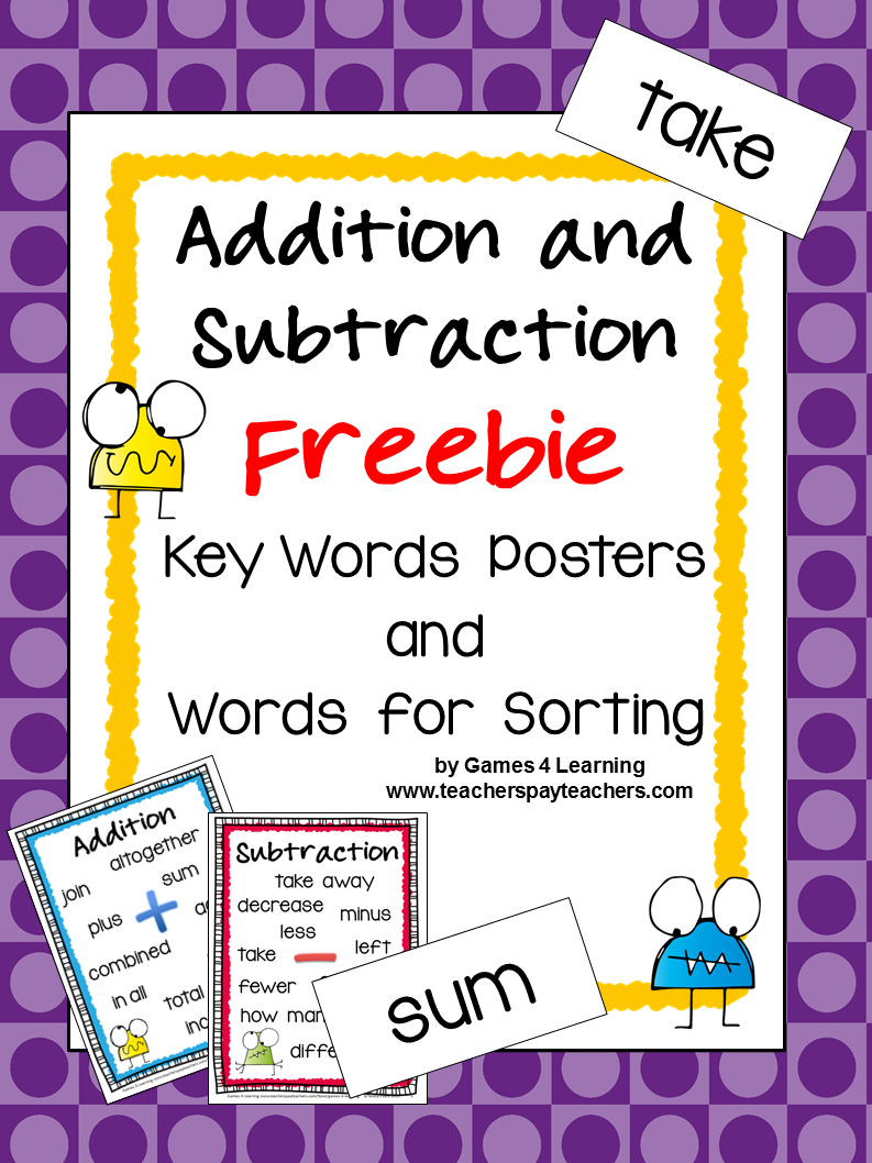 FREEBIE - Addition and Subtraction Key Word Posters and Word Cards ...