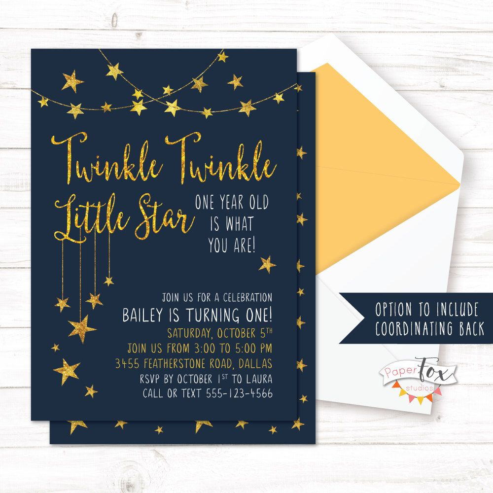 Twinkle Twinkle Little Star First Birthday Invitation Twinkle
