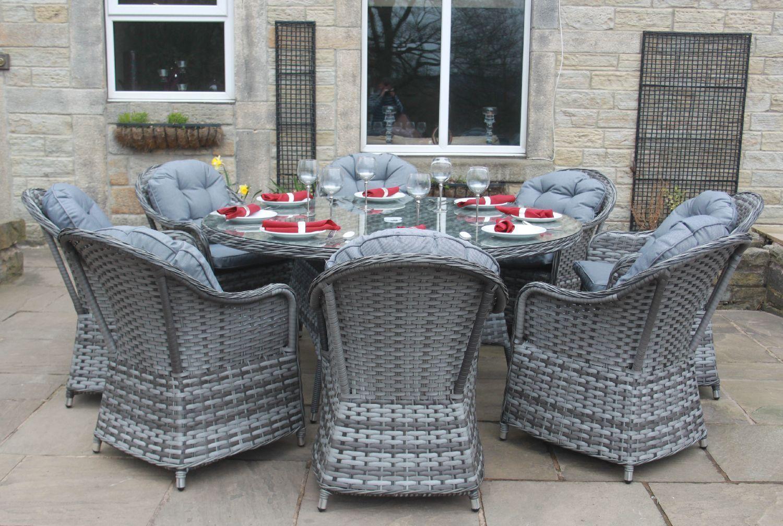 Luxury Grey Rattan 4, 6 or 8 Seat Round Dining Set Garden