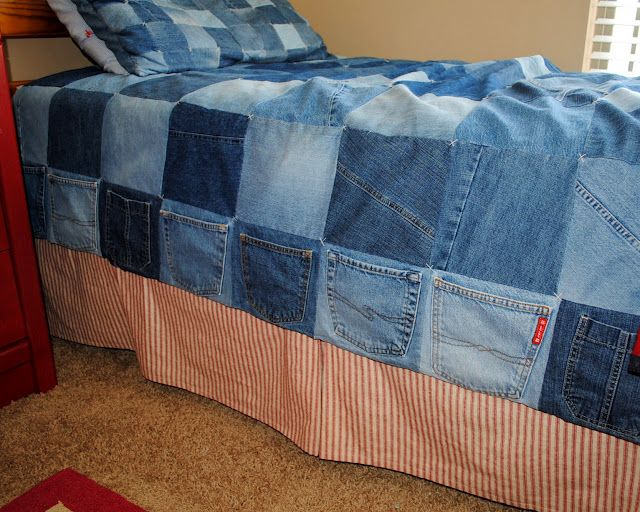 Denim quilt...Pockets along side gives little boys pockets for small toys and little treasures... This would be an awesome way to use up some of those old jeans.  I'd probably include some flannel (shirt) squares, too.
