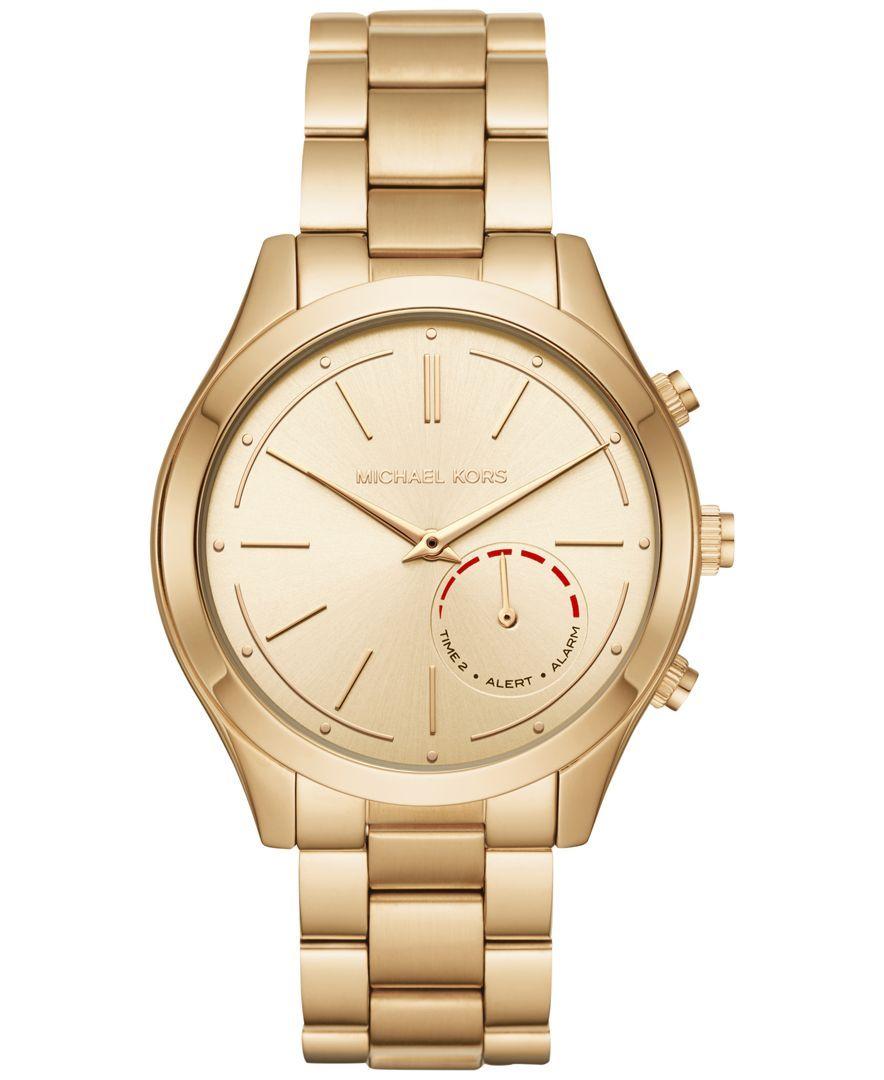 Michael Kors Access Women's Slim Runway Hybrid Gold-Tone Stainless Steel Bracelet Smart Watch 42mm MKT4002