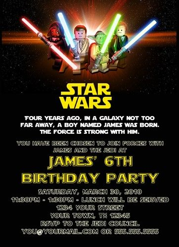 Custom Printable Happy Birthday Invitation Lego Star Wars Boy