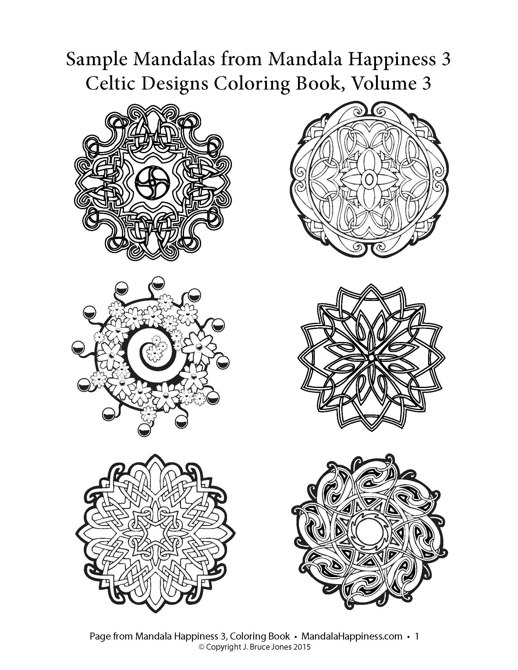 Mandala coloring pages amazon - Sample Mandala Designs From Mandala Happiness 3 Celtic Designs New Book On Amazon