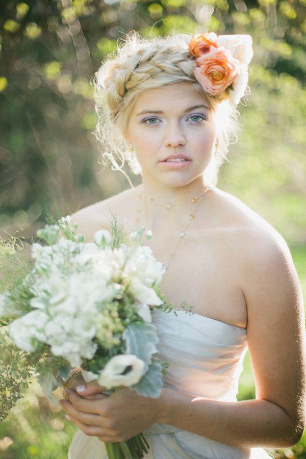 braided bridal hair, photo by Angela & Evan Photography http://ruffledblog.com/watercolor-themed-bridesmaid-inspiration #weddinghair #braids