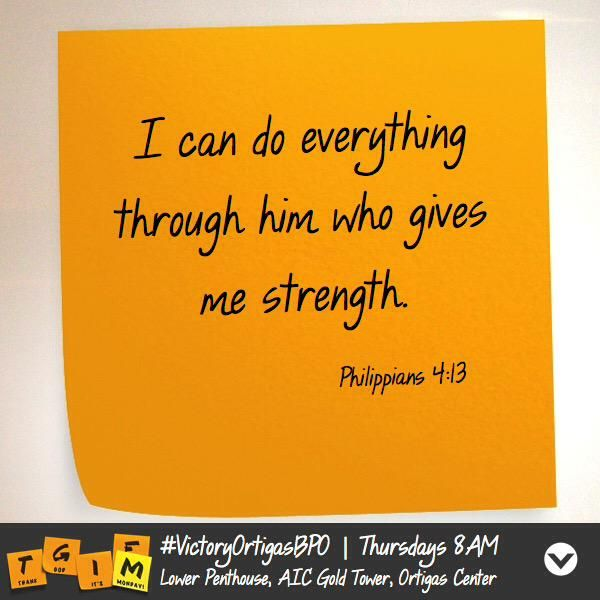#VictoryOrtigasBPO Feeling tired or weary at work? Jesus will be your strength. Thursdays 8AM AIC Gold Tower, Ortigas