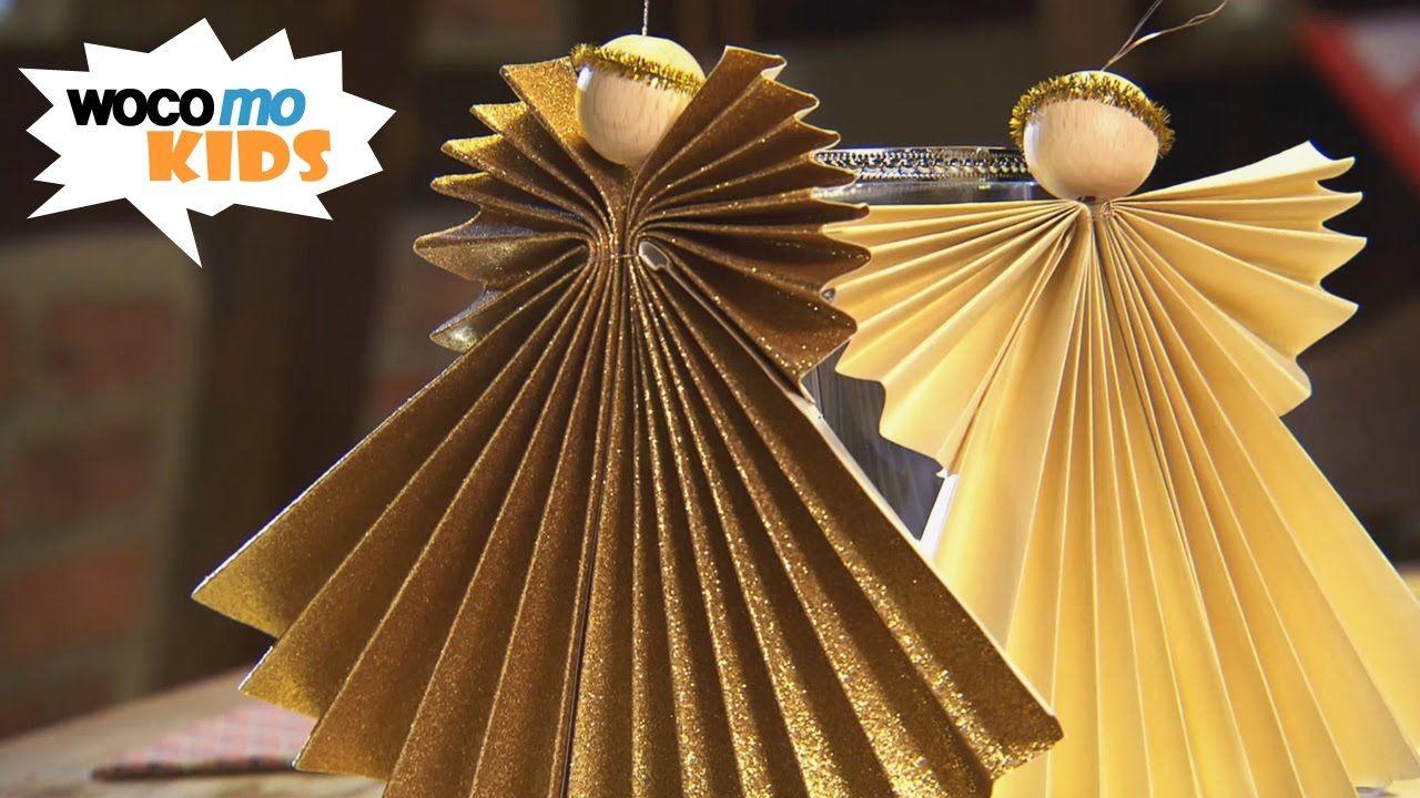 Weihnachtsbasteln Sterne Aus Goldpapier.Weihnachtsengel Basteln Faltanleitung Mit Goldpapier Angels