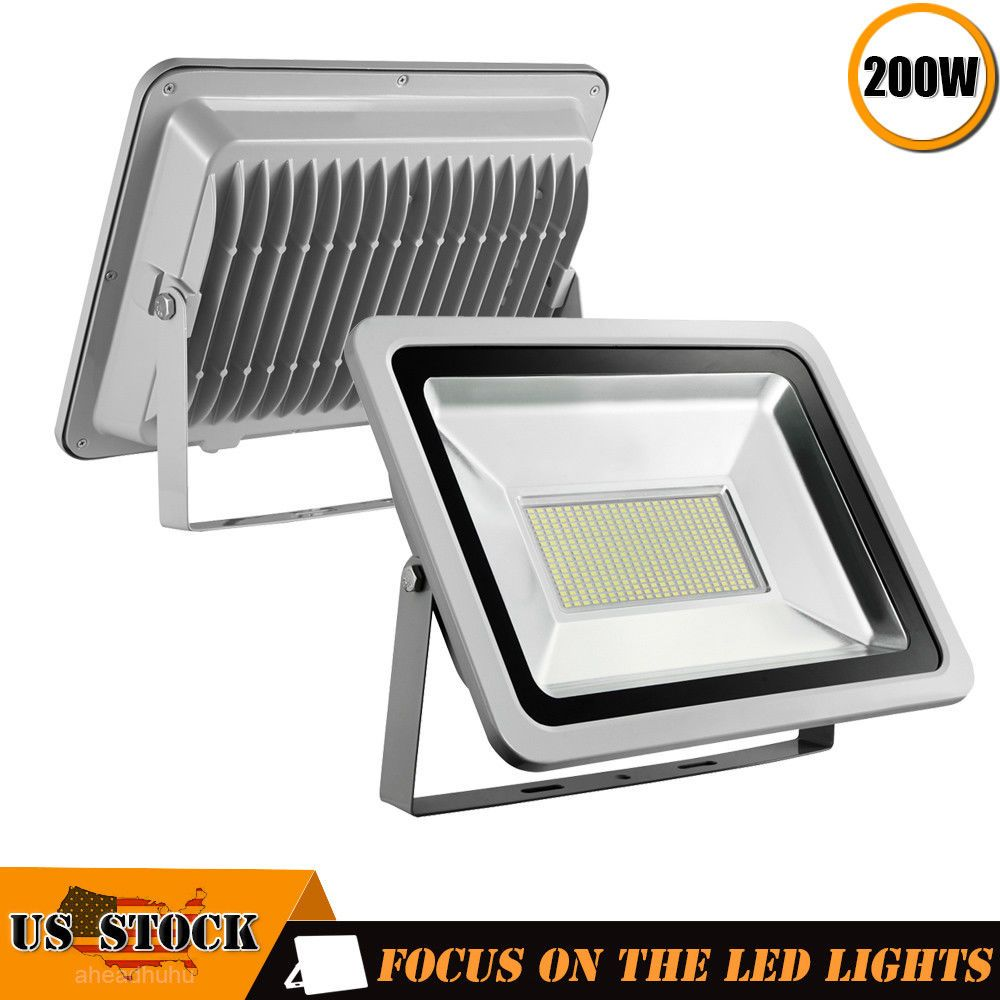 2 X200w Led Flood Light 110v Outdoor Spotlights Landscape Garden Yard Cool White Led Flood Lights Led Flood Flood Lights