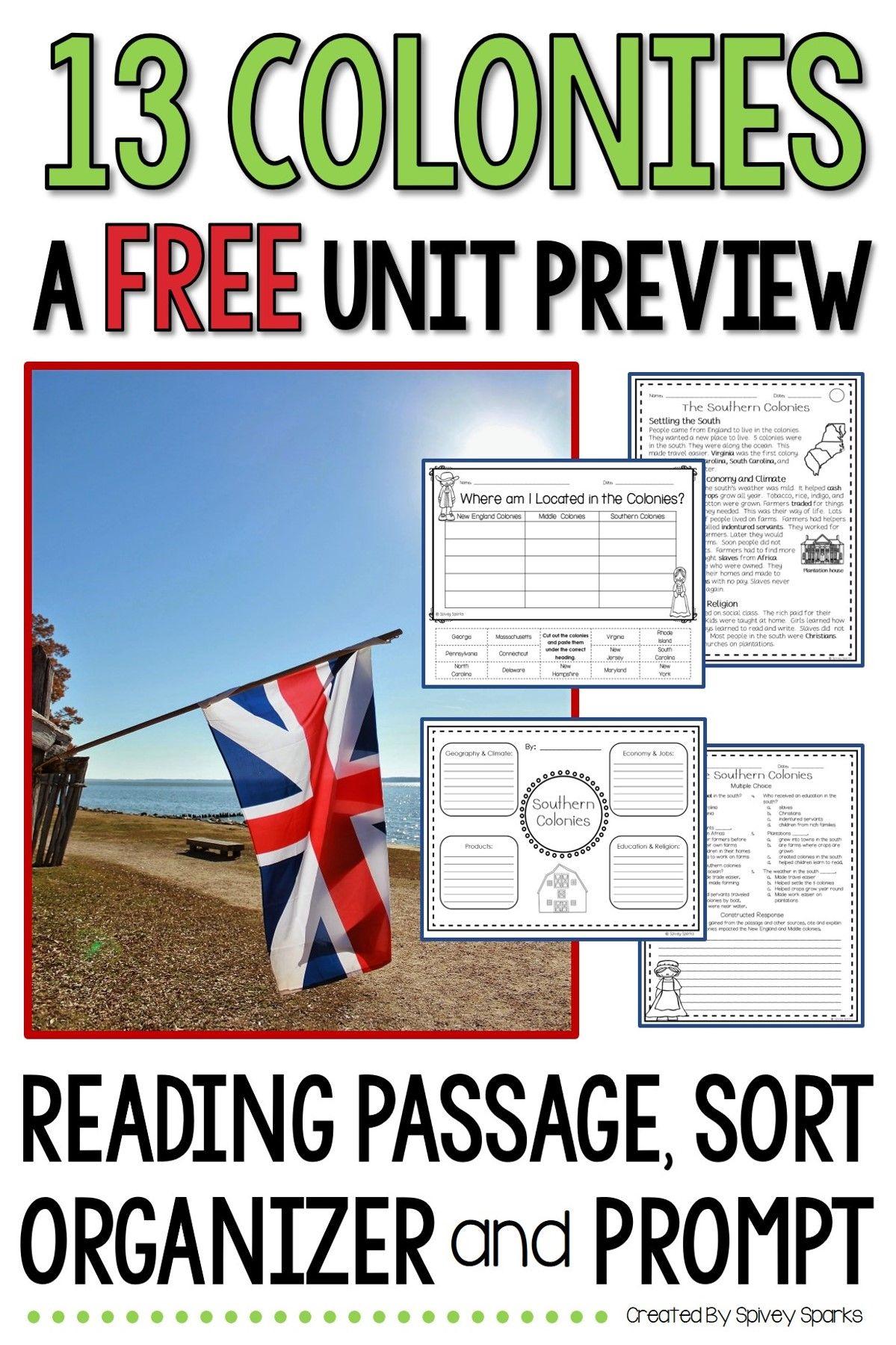 13 Colonies Free Activities Reading Comprehension Worksheets 13 Colonies 13 Colonies Unit [ 1800 x 1199 Pixel ]