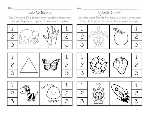 Printables Syllable Worksheets kindergarten syllable worksheets davezan for davezan