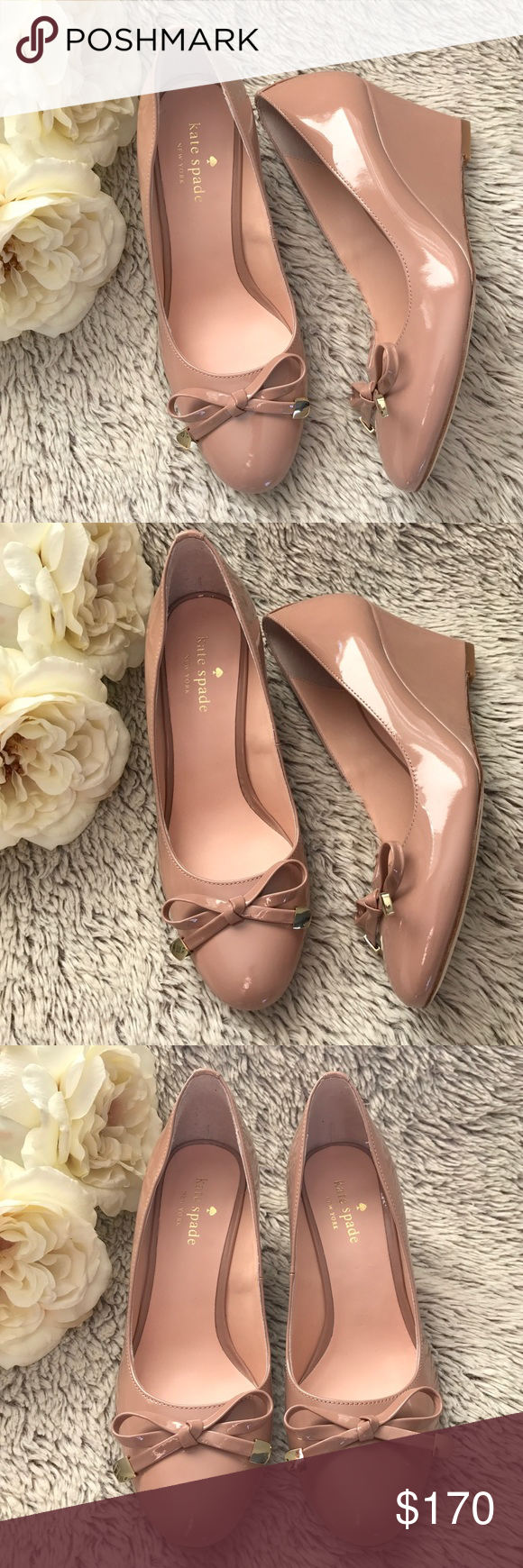 9cd5fd52446f ▫️kate spade▫️Nude Patent Leather Wedges▫️NIB Gorgeous nude (fawn) patent
