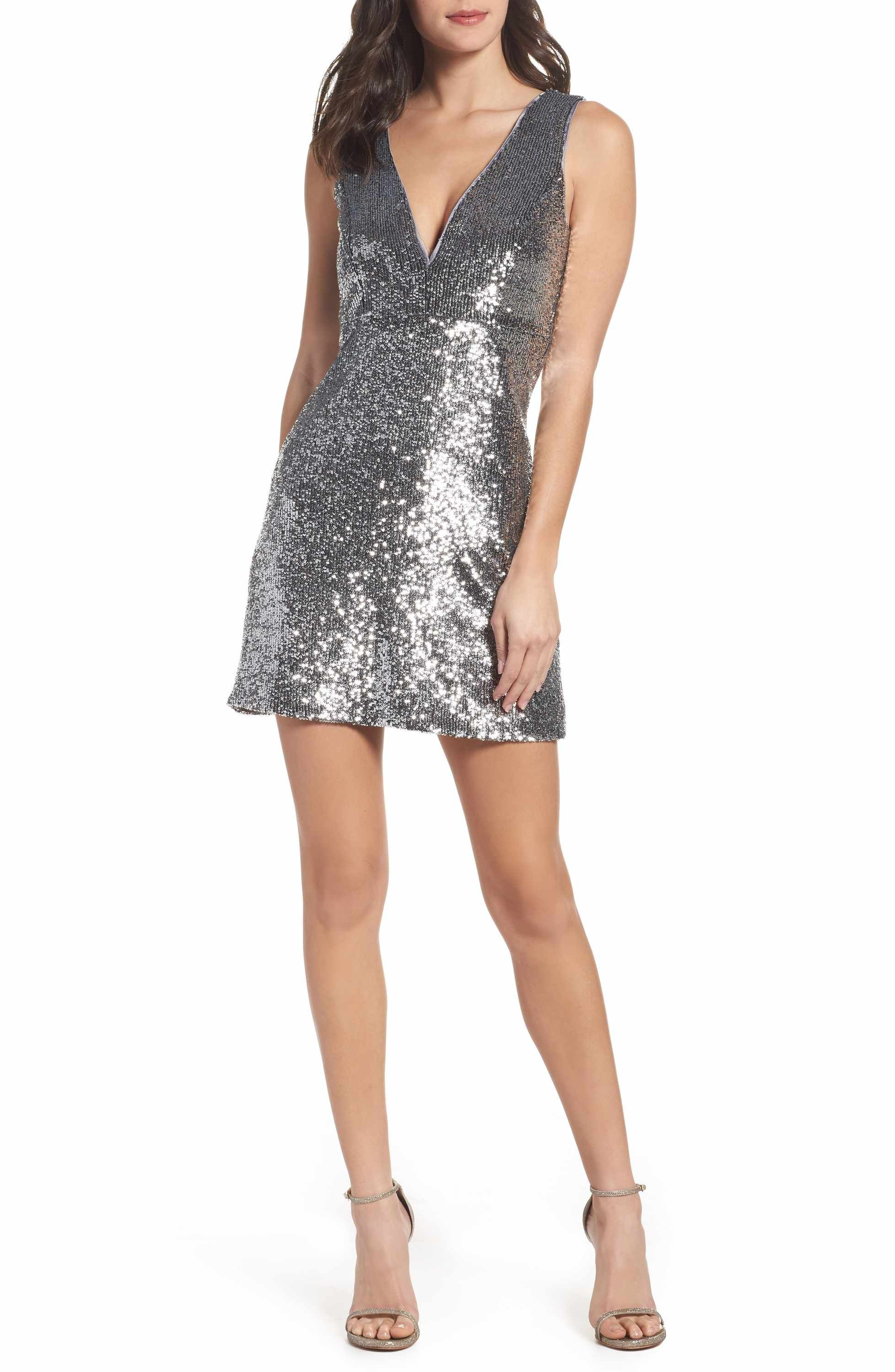Silver Sequin A-Line Dress by Bardot. Allover sequins light-up a ...