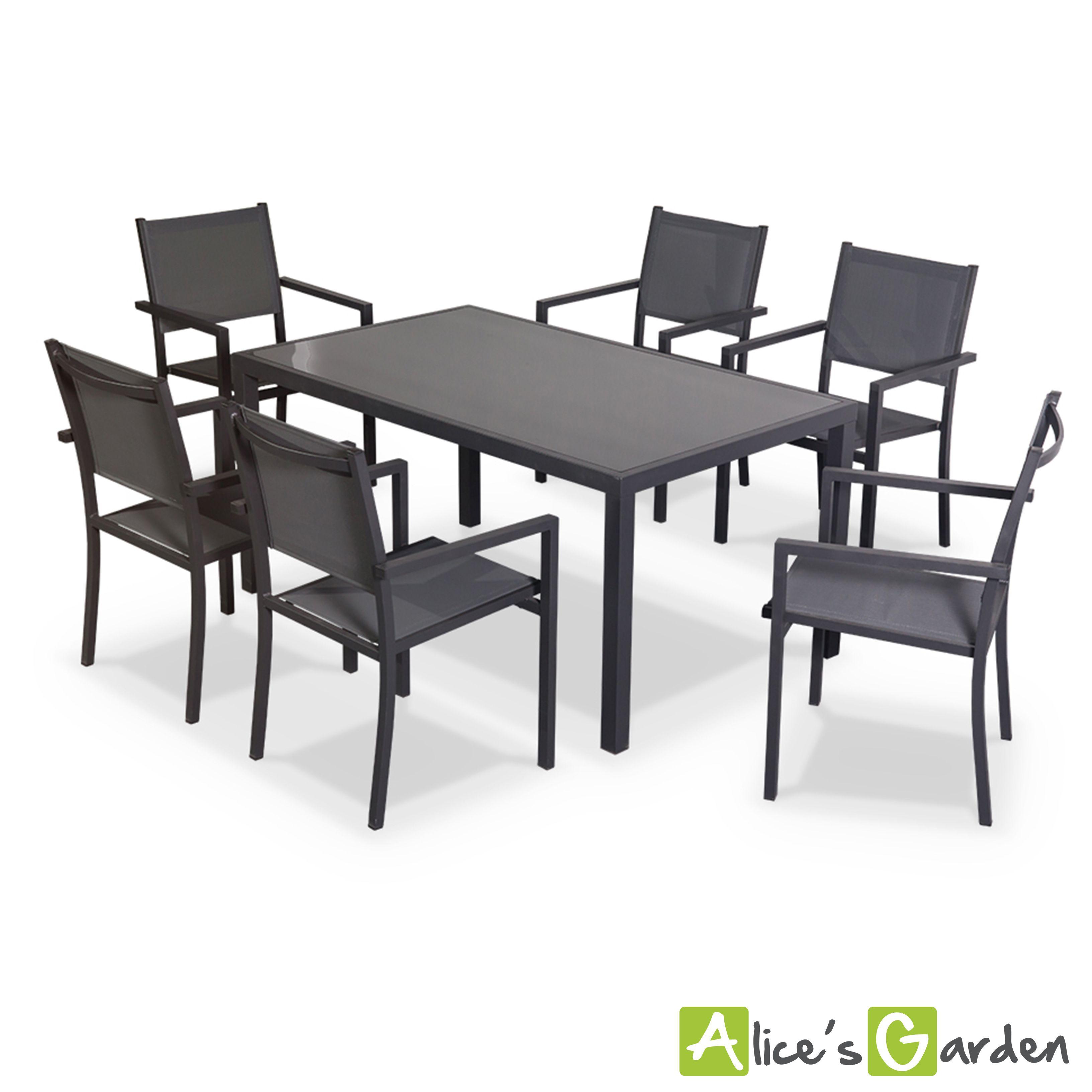 Capua : table de jardin en aluminium et textilène 6 places. http://www.alicesgarden.fr/mobilier-jardin/table/table-de-jardin-aluminum-et-textilene?selected=698