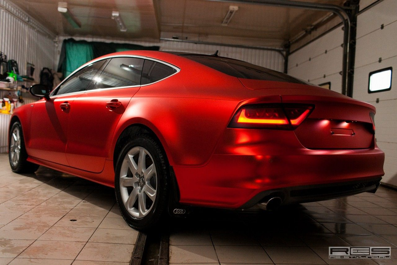 Audi A7 Wrapped in Red Satin Chrome [Photo Gallery