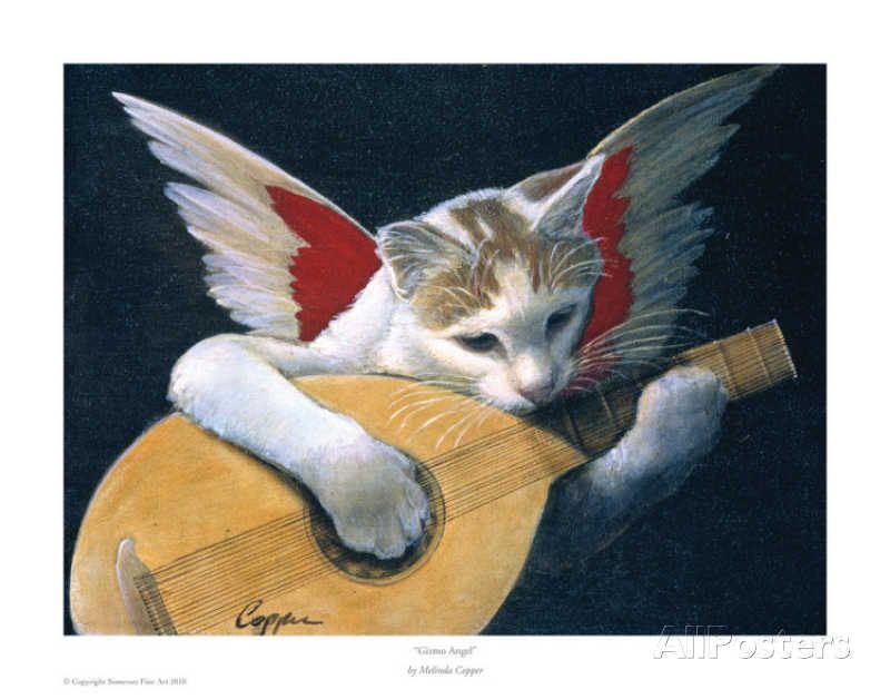 Gizmo Angel Poster Par Melinda Copper Sur Allposters Fr Illustration De Chat Peinture Chat Chats Adorables