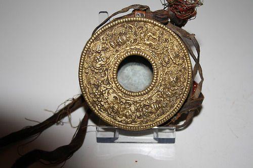 Tibetan amulet box (Gahu), copper repousse, gilded item's