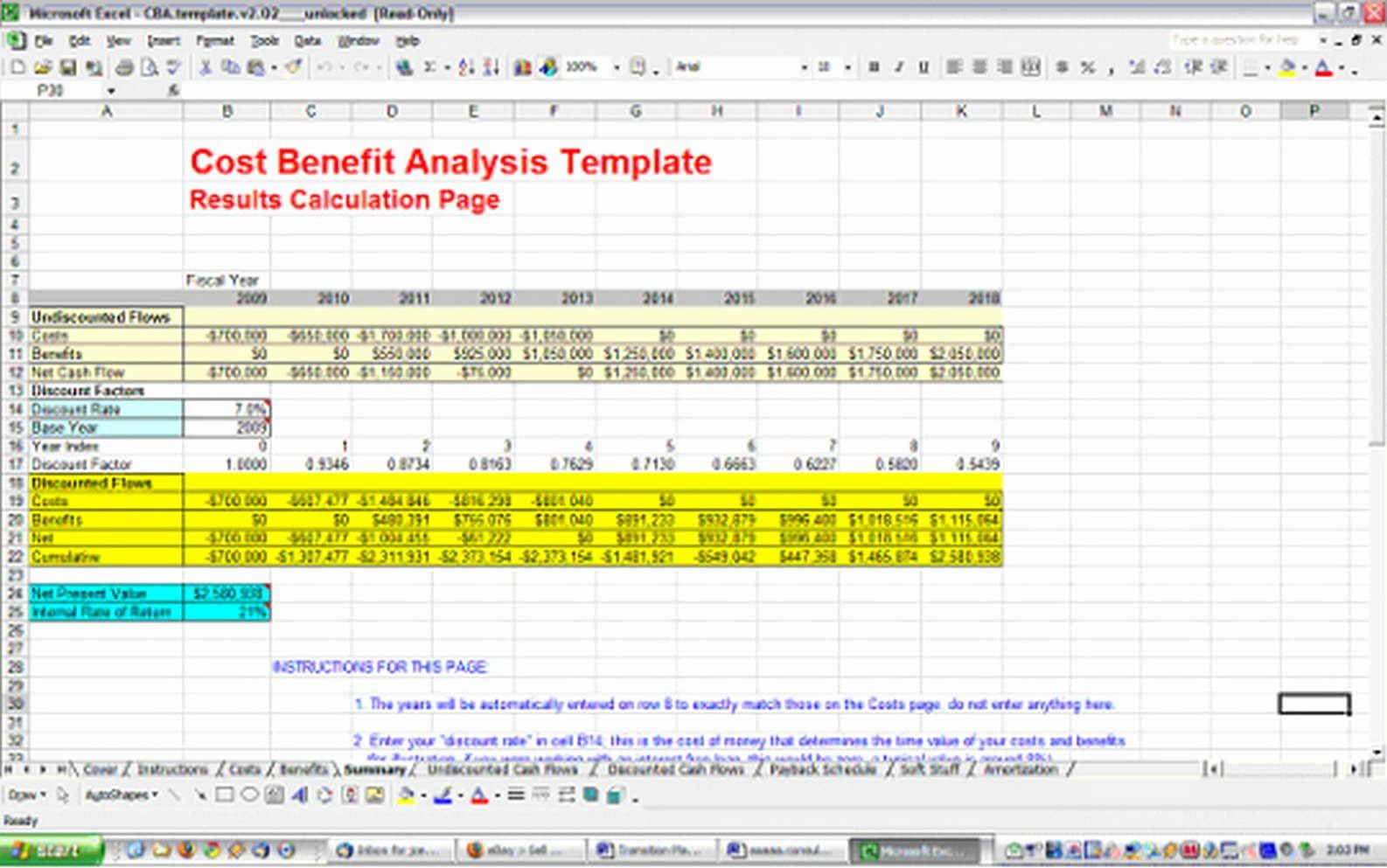 Free Cost Benefitysis Template Excel In