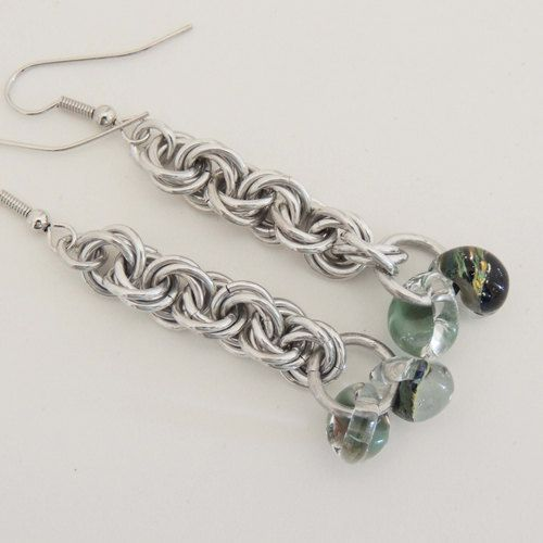Long Dangle Chainmaille Earrings with Glass Beads by OwlWhisper