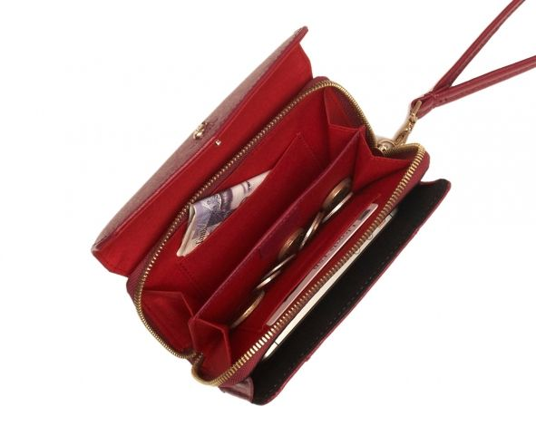 Seymour Black Cherry Leather Smartphone Wristlet   Smartphone Purse from KNOMO: Official Store   Women's Leather Purse   Black Saffiano Leat...