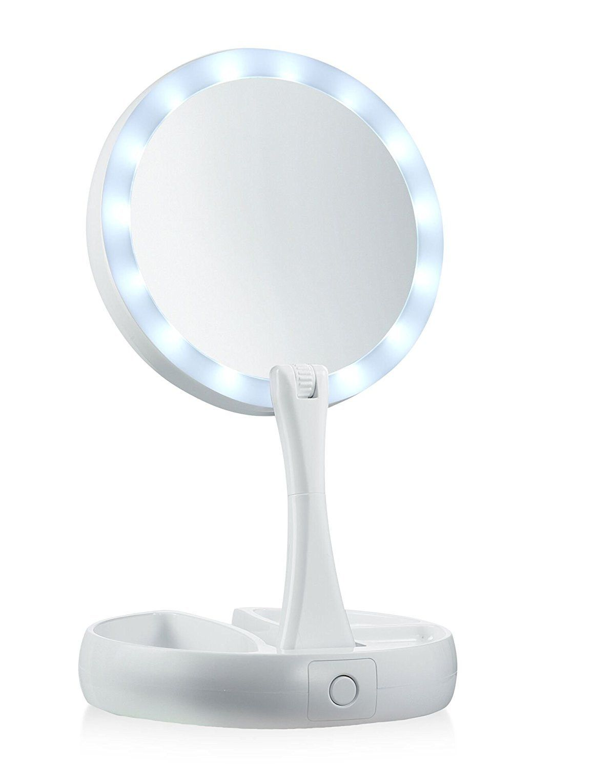 My Foldaway Mirror The Lighted Double Sided Vanity Mirror 10x Magnification As Seen On Tv Led Makeup Mirror Mirror With Lights Makeup Mirror With Lights