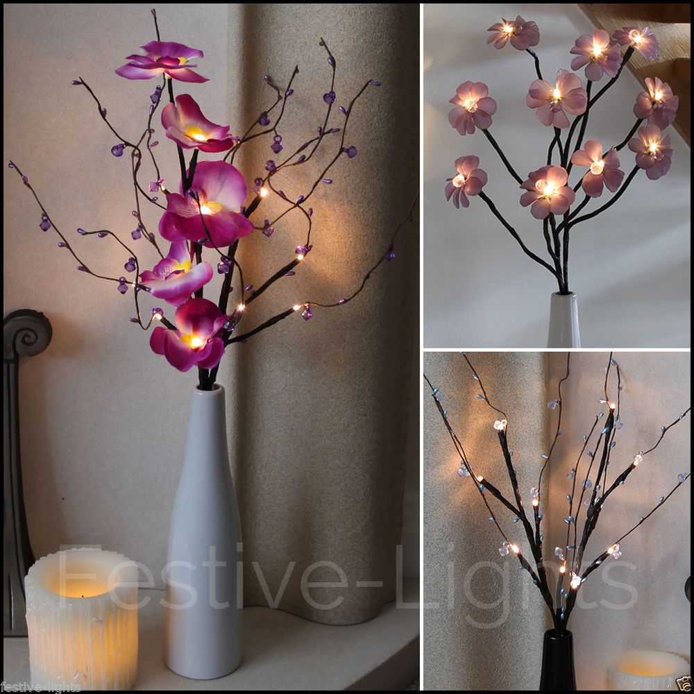 BATTERY OPERATED 10 LED TWIG FLOWER PETAL LIGHTS WITH VASE AND 6 HOUR TIMER : flower light vase - startupinsights.org