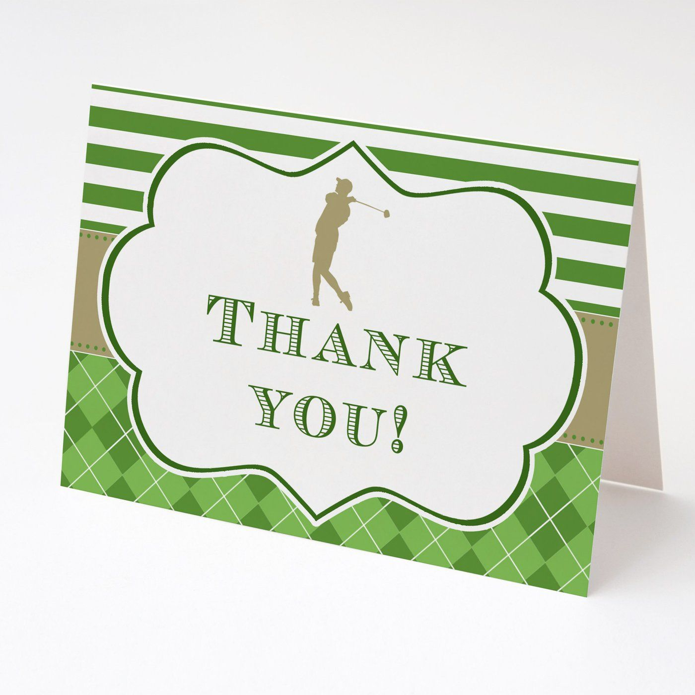 Golf Thank You Card Green Gold Printable Birthday Retirement Party Pink The Cat