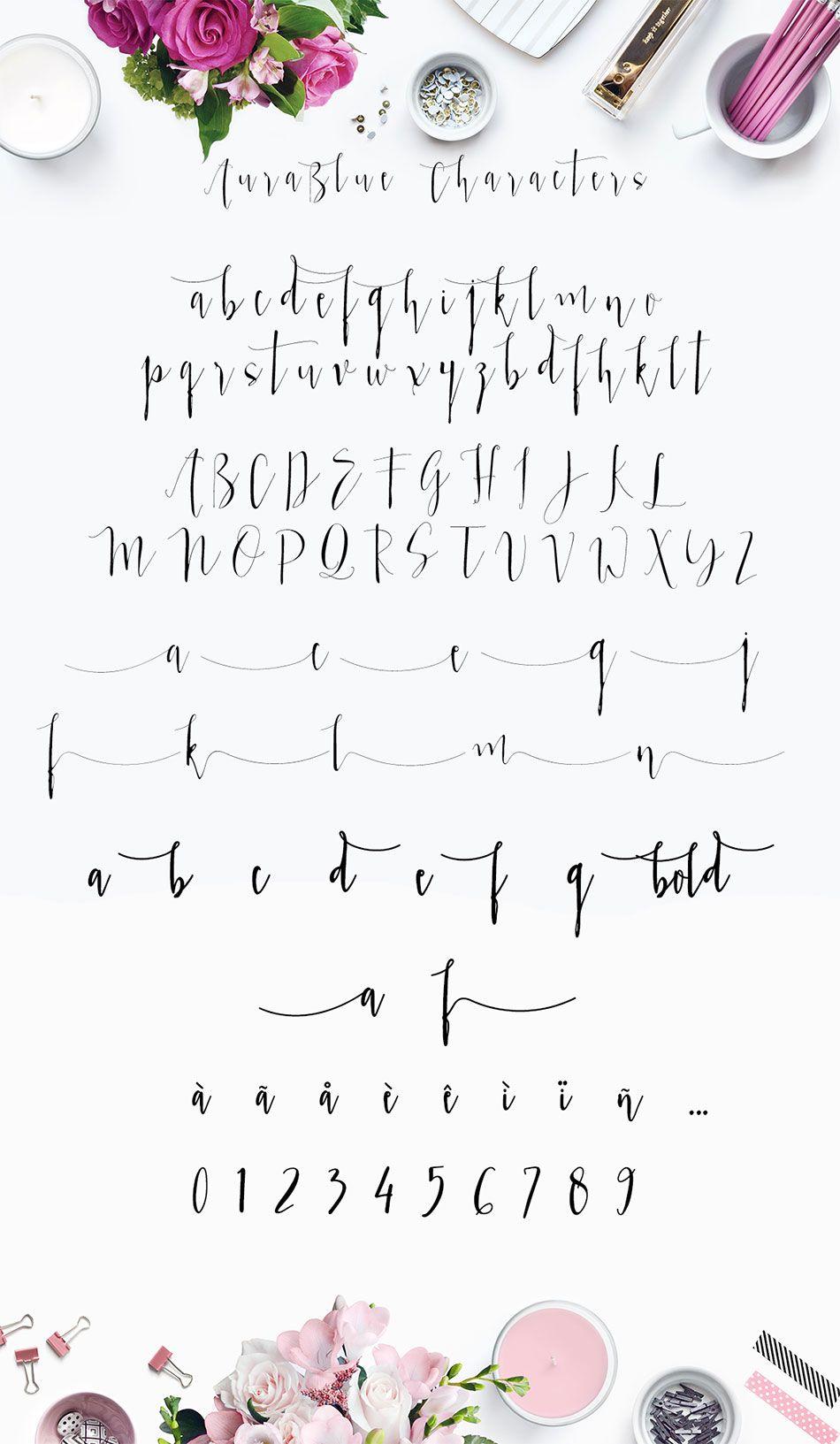 Aura Blue Modern Calligraphy Font By Mycandythemes On Creative Market