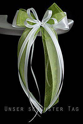 10 x weiß Antennenschleifen Autoschmuck Hochzeit Schleifen für Brautwagen Deko