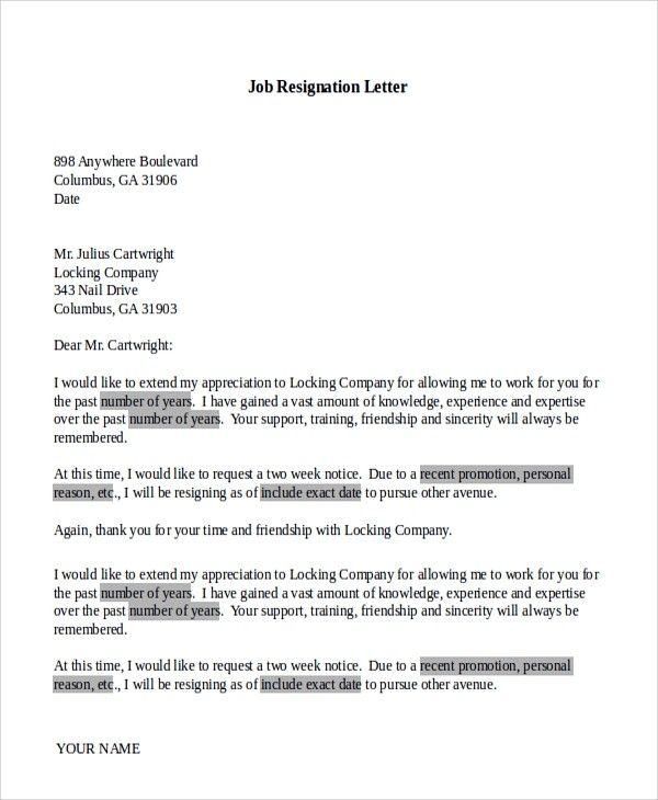 Resignation Letter Template For New Job The Ten Common