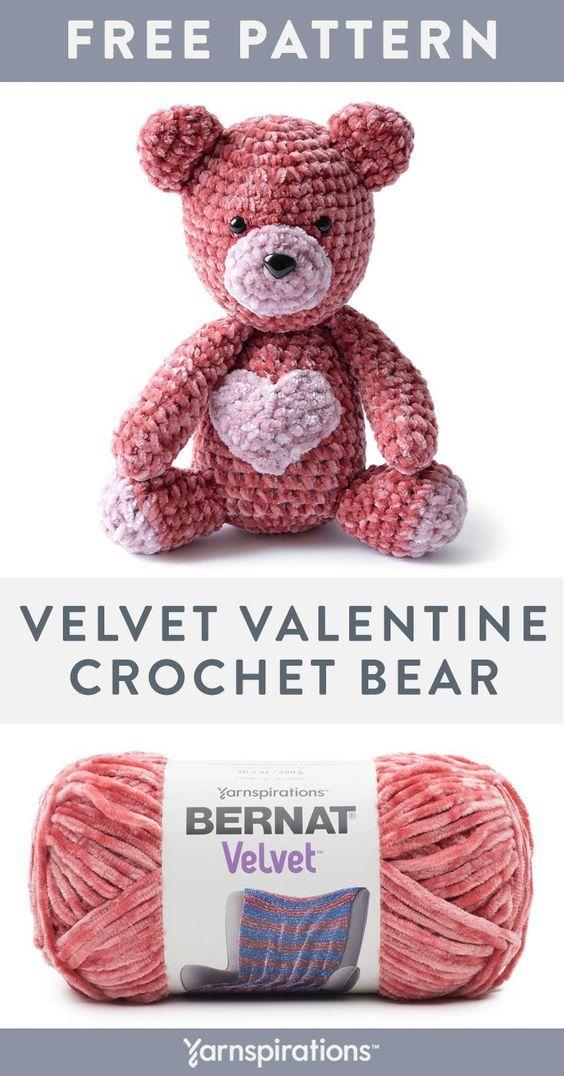 Velvet Valentine Crochet Bear By Sarah Zimmerman - Free Crochet Pattern - (yarnspirations) #crochetbearpatterns
